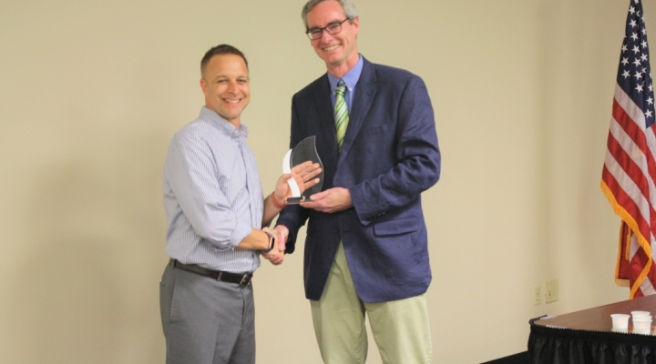 2019 Alumni Award in History Teaching recipient Bret Baierlei with John Bowes