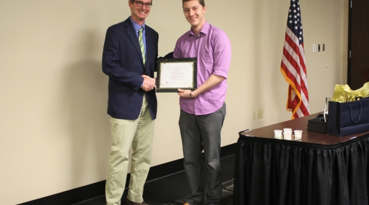 Collins Writing Award undergraduate winner H. Michael Schultz with John Bowes