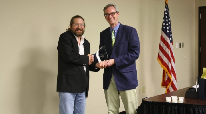 Distinguished Alumni Award in History 2019, Dr. Thomas Kiffmeyer, with Dr. Bowes